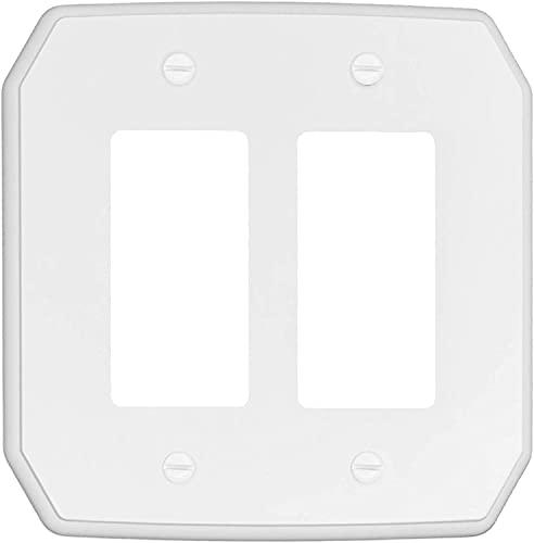 RUNWIRELESS CLASSIC WHITE OVERSIZED DOUBLE ROCKER WALL PLATE, Decorative Wall Plate, Plastic Switch Plate_10-37RR