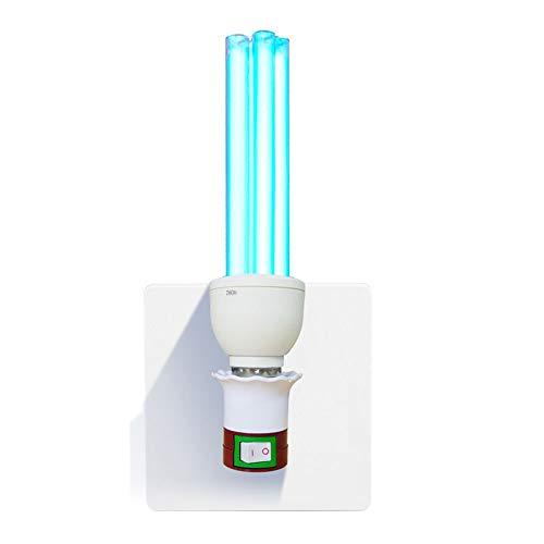 SMYH Lampada Germicida Compatta UV-c 15w/30w Lampada Sterilizzazione UV Ozono Lampada Disinfezione + Portalampada + Timer + Telecomando,Integrazione a Quattro Tubi