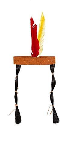 shoperama Diadema con plumas y trenzas para disfraz de india