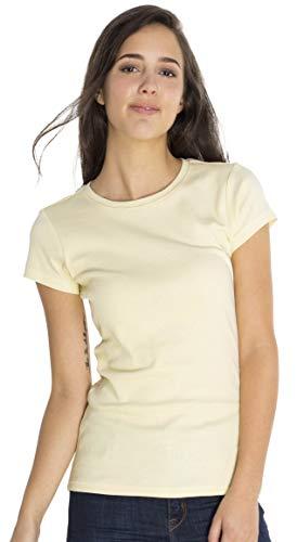 SOIZZI Fashion Women Crew T Shirt, Slim Fitted. 100% Organic Cotton GOTS(R), Basic Crew Neck Short Sleeve Tee, Eggshell-XS