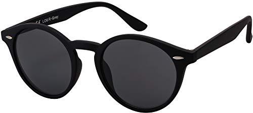 Originale La Optica UV400 Occhiali da Sole Unisex Specchiata Rotondi - Confezione Singola Gommata Nero (Lenti: Grigio)