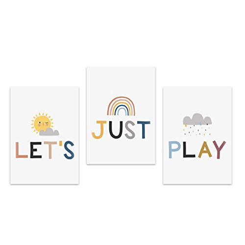 WEUEWQ Poster Lets Just Play Poster Sun Cartoon Cloud Rainbow Nursery Wall Art for Children's Room Decoration Picture for Baby Bedroom Decor Northern Europe -50x70cmx3 No Frame