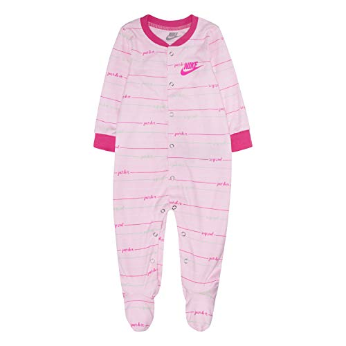 Nike Baby Graphic Footed Coverall, Pink Foam Stripe, 6M