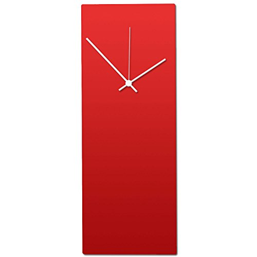 Metal art studio redout clock contemporary wall decor, small, red face/white hands