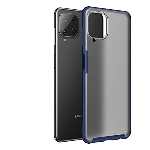 Hauw Funda para Samsung Galaxy A22 4G Caso,Cubierta Protectora Esmerilada Translúcida,Parte Posterior de PC y Cubierta Posterior de Borde Suave de TPU para Samsung Galaxy A22 4G,Azul