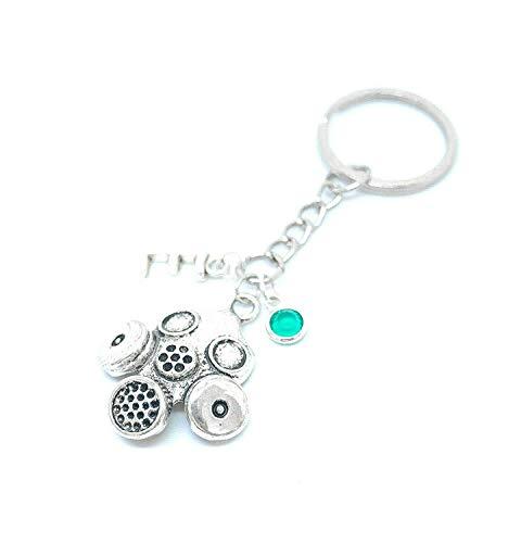 Schlüsselanhänger mit Schlüsselanhänger, Motiv Breaking Bad mit Gasmaske, personalisierbar, Geburtsstein, in Geschenkbeutel