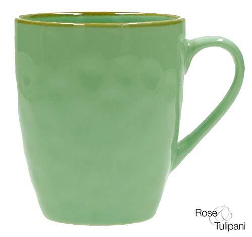 Rose e Tulipani Tasse Concerto Verde Acqua Vintage Becher im Landhausstil 430ml Grün Caffe Latte Kaffeebecher Kaffeetasse italienisch Steinzeug