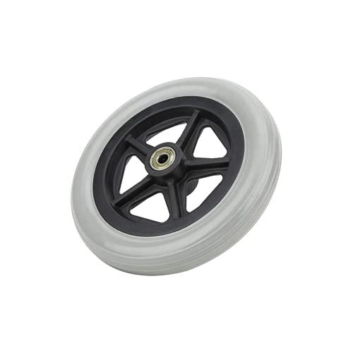 Rueda delantera para silla de ruedas de 7 pulgadas, andador de repuesto de rueda de desplazamiento de goma gris 608ZZ 176 mm para personas discapacitadas