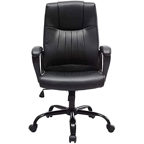 Silla ergonómica Sillas de oficina para sillas de videojuegos en el hogar, estudio del hogar Cuero artificial Cojín de esponja Nivel de seguridad Varilla de presión de aire Relleno de alta densidad Pl