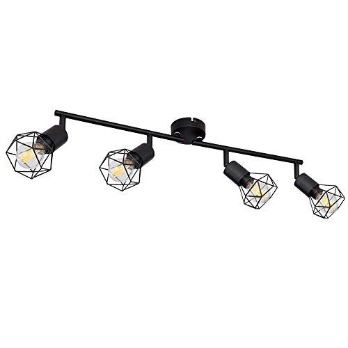 Decken Lampe schwarz Wohn Ess Zimmer Beleuchtung Retro Käfig Strahler verstellbar Globo 58402S-4