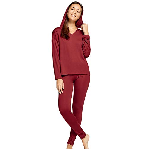 Impetus Woman – Pijama con capucha Confort en Modal Gasolina rojo 38-40