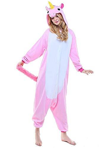 Regenboghorn Unisex Einhorn kostüme, Schlafanzug, Pyjama,für das Halloween ,Karneval und Weihnachten mit der Kapuze (S(140-160CM), Pink)