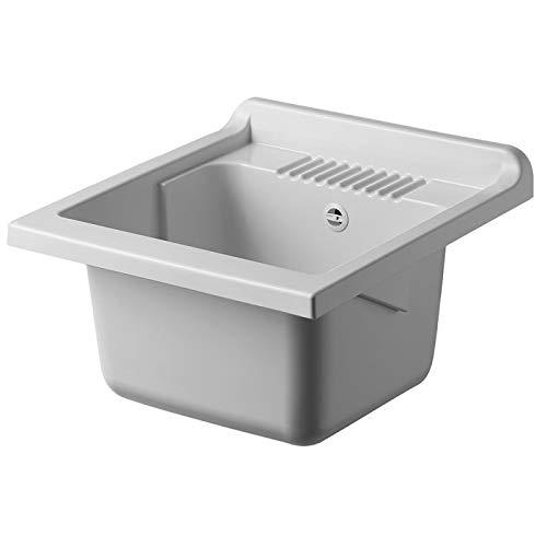 Negrari Vasca Per Lavatoio Ricambio 45X50 In Resina Bianco Completa Di Sifone