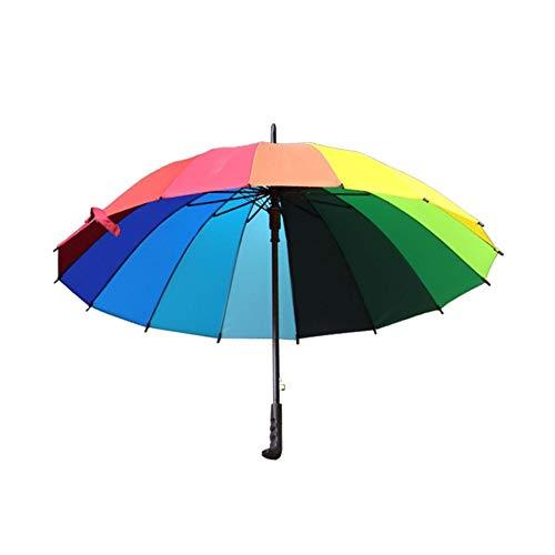 HUXIZ Regenschirm 16K Creative-Regenbogen-Regenschirm Stiel Automatikschirm Gerade Auto Regenschirm Salat Regenschirm Smartbrella Regenschirm Großen Regenschirm (Farbe : Orange, Size : 79cm)