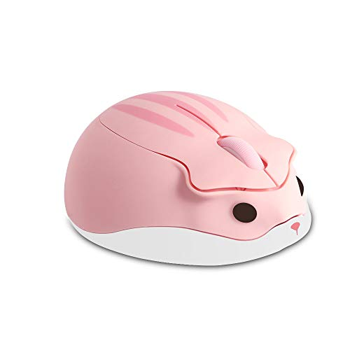 Wireless Mouse Cute Animal Hamster Shape Cartoon Silent Computer Mice,1200DPI Quiet Portable Mobile Optical Travel Mute Cordless Mouse for PC Laptop Computer Notebook MacBook for Kid Gift(Pink)