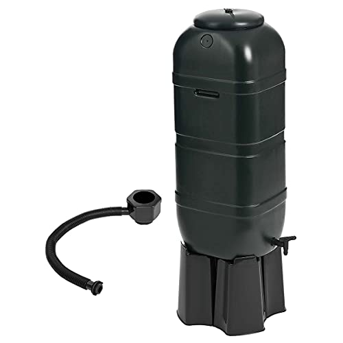 Charles Bentley Ward 100L Slimline Garden Plastic Water Butt Set Including Tap With Stand and Filler Kit Black Rain Saver