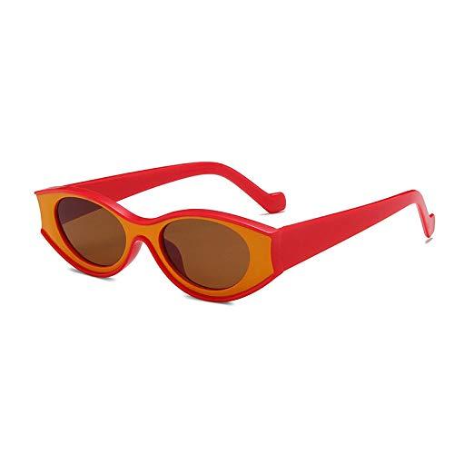 FENGHUAN Gafas de Sol pequeñas de Ojo de Gato a la Moda para Mujer, Gafas de Sol con Lentes ovaladas clásicas Populares, Gafas de Sol Punk para Hombre, Verde, Naranja, Orangetea