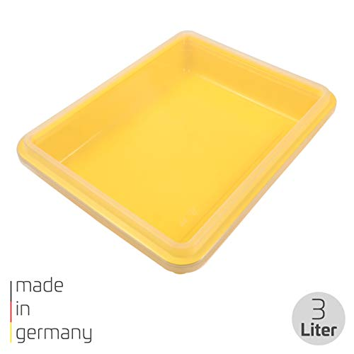 proventa® Frischhalteschale Made in Germany, BPA-frei und lebensmittelecht, 3 Liter, gelb, mit transparentem Deckel, stapelbar, für Gewerbe und Privat