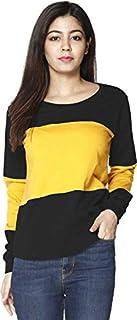 Ytrick Women Musturd Round Neck Cotton Tshirts