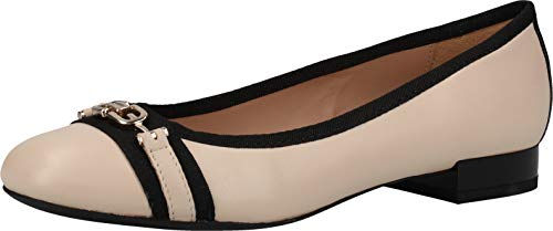 Geox Donna Ballerine D WISTREY, Signora Ballerine Classiche, Ballerina,Scarpe estive,Classico-Elegante,Sand/Black,39 EU / 6 UK
