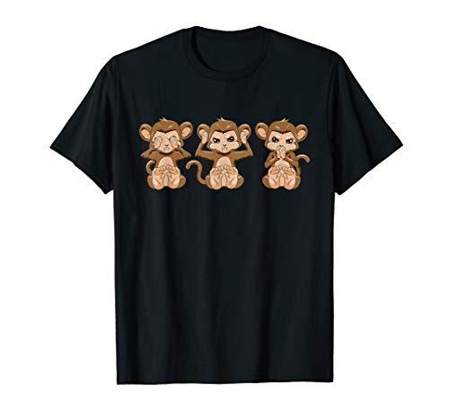 3 Affen nichts sehen hören sagen Äffchen T-Shirt Geschenk