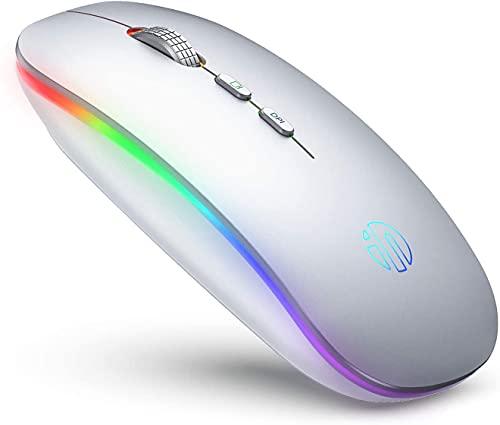 Ratón inalámbrico LED, recargable silencioso 2.4G inalámbrico con receptor USB, Untra Thin RGB retroiluminado inalámbrico ratones para ordenador portátil, PC, Mac, plata (plata)