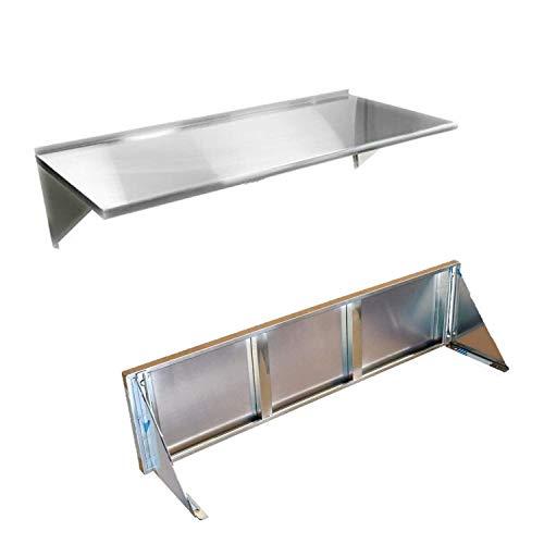 Nisorpa - Estantería de pared (120 x 30 cm, acero inoxidable)