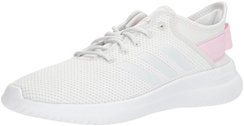 adidas NEO Women's CF Qtflex W Running Shoe, Crystal White/Crystal White/Aero Pink, 8 M US