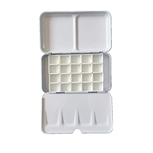 BOOYEE Empty Watercolor Palette Paint Case Tin Boxes, Easy to Carry with Half Pans with Magnetic Stripes (Starry with 20pcs Half Pans)