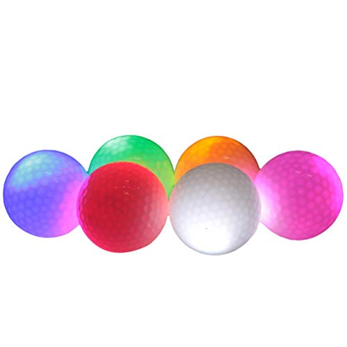 Knowoo 6 Pcs Golf Balls Glow Golf Balls, Flashing Glowing Golf Ball, Night Glow Flash Light up, Long Lasting Bright Night Sports