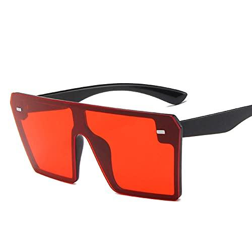 Powzz ornament Gafas de sol de gran tamaño para mujer, gafas de sol cuadradas de lujo para mujer, gafas de sol Retro, gafas de espejo, Vintage, Oculos-BlackRed