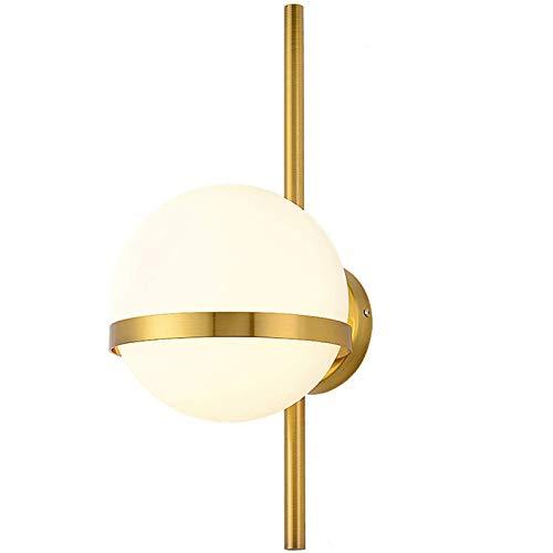 BANNAB Lámpara de Pared LED Moderna con Pantalla de Bola de Cristal Blanca, Soporte Minimalista nórdico, lámpara de Pared para Dormitorio, Sala de Estar, Pasillo, Invernadero (Dorado, 15 cm)