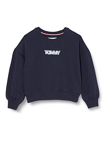 Tommy Hilfiger Iridescent Badge Crew Sweatshirt Suéter, Twilight Navy, 16 para Mujer