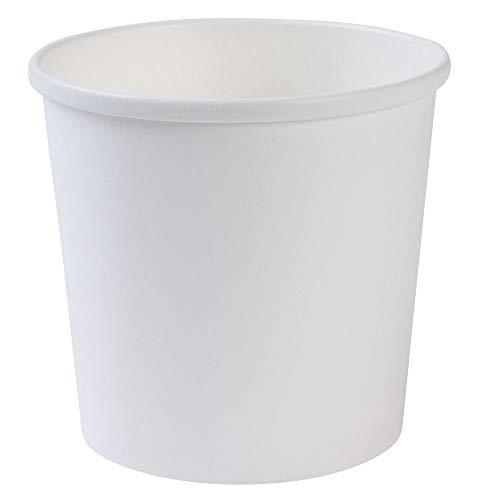 BIOZOYG Taza desechable orgánica de Papel Blanco To Go I Taza compostables Recubrimiento Interior de PLA Taza Sopera To Go Copa cartón para Helado I 25 Tazas Redondas de cartón estables 600 ml