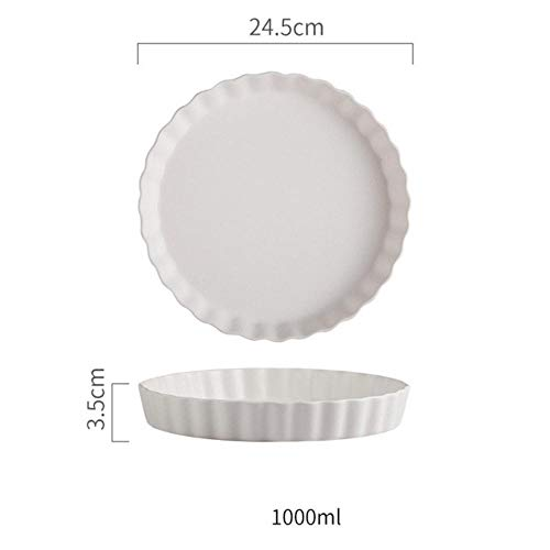 Qingsb 10 inch Nordic Wave ronde keramische plaat kort massief porselein mat dinerbord Huishoudelijke steak Pasta Sushi schotel Bakplaat, wit, 10 inch