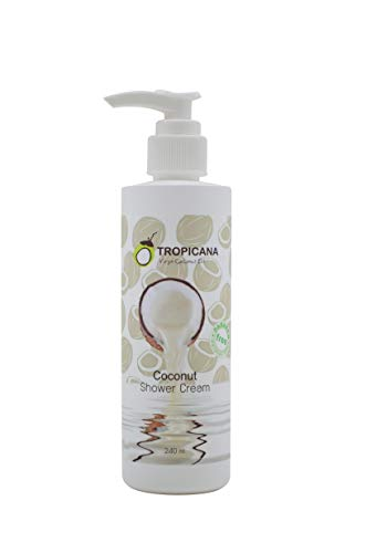 Tropicana Oil Natürliche Kokosöl Duschcreme 240 ml | Kaltgepresstes natives Kokos Öl, Aloe Vera Extrakt | Kokosnuss Sensitive Duschgel | Vegan Naturkosmetik | Glutenfrei und ohne Tierversuche