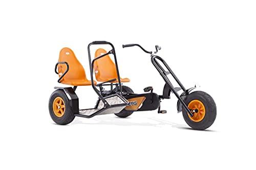 BERG Zweisitzer Pedal-Gokart, Abnehmbarer Beifahrersitz, Für Kinder und Erwachsene ab 5 Jahren, Bis 100 kg, Duo Chopper, Orange/Schwarz