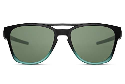 Cheapass Gafas de Sol Puente Doble Deportes Estilo para Hombres Mate Negras a Mate Transparente Verde con Lentes Oscuras UV400 protegidas para Correr, Excursionismo y Otras Actividades Exteriores