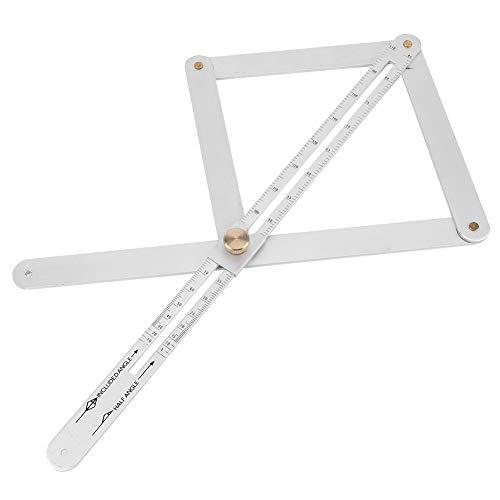 Niunion Regla de goniómetro, Regla de goniómetro Resistente al Desgaste Perfilador de Techo Diagonal Multifuncional Buscador de ángulos de Esquina de 4 Pliegues