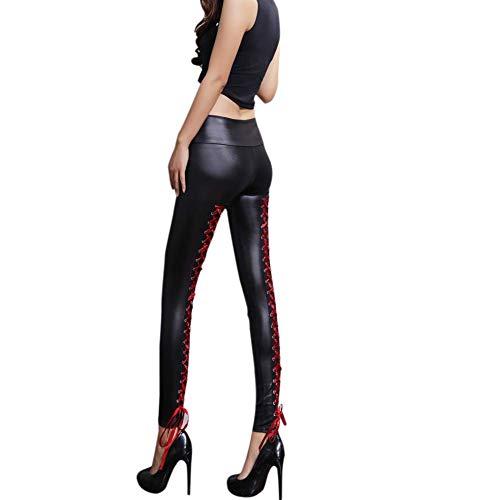 Pantalones de cuero Leggins Mujeres Pu cuero Skinny Elásticos Negro pantalones