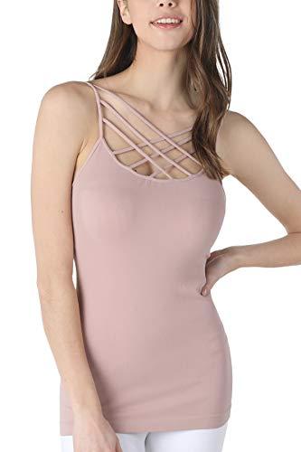 NIKIBIKI Women Seamless Triple Criss Cross Camisole, Made in U.S.A, One Size (Dusty Rose)