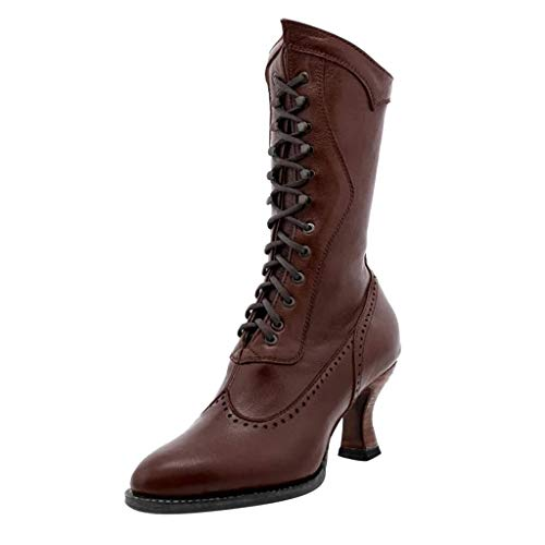 Why Choose Eimvano Women's Retro Tiered Mid Calf Boots Vintage Chunky Block Heels Knight Warm Waterp...