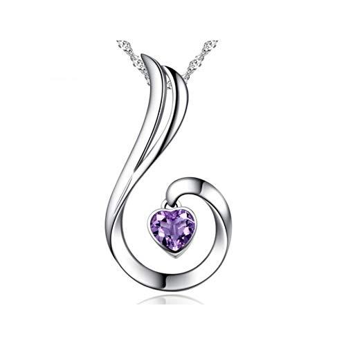 Fqdqh Collar, S925 plata collar de Mujer, Phoenix joyería pendiente de la cadena de clavícula joyería, presente el día de diamante blanco de San Valentín for su novia regalos a la mujer, púrpura miste