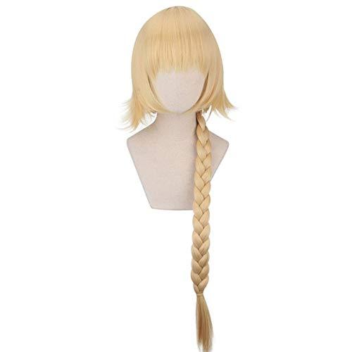 Fate / Apocrypha Ruler Juana de Arco Cosplay peluca Fate / Zero Jeanne D'Arc Golden Long Braid Hair Pelucas de fiesta de Halloween L490