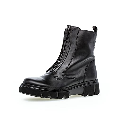 Gabor Damen Combat Boots, Frauen Stiefeletten,Wechselfußbett,Best Fitting,uebergangsstiefel,schnürstiefel,warm,schwarz(Altsilber),39 EU / 6 UK