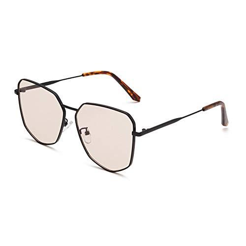 Gafas de Sol Sunglasses Polígono De Gran Tamaño Moda Mujer Gafas De Sol Diseñador De La Marca Marco De Metal Vintage Lente Tintada Gafas Hombres Gafas De Sol Sombra Negro-Rosa
