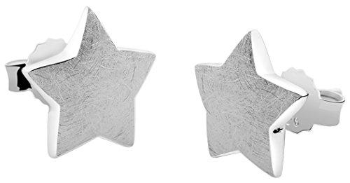 Nenalina Silber Damen-Ohrringe Ohrstecker Stern matt gebürstet für Frauen und Mädchen, 925 Sterling Silber, Ohrstecker für Damen, Ohrstecker Sternchen silber, 324407-390