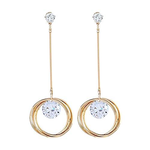 TYXL Pendientes de botón para mujer Pendientes de circonita súper brillantes Pendientes de aro de círculo de cristal Pendientes colgantes de San Valentín para mujer, Dorado
