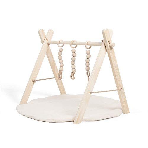 Spieltrapez Holz Spielbogen für Babys | Baby Spielzeug aus Naturholz | Activity Center Baby mit DREI sensorischen Spielzeugen | 100% ECO | Made in EU (Spieltrapez Holz+Krabbeldecke)