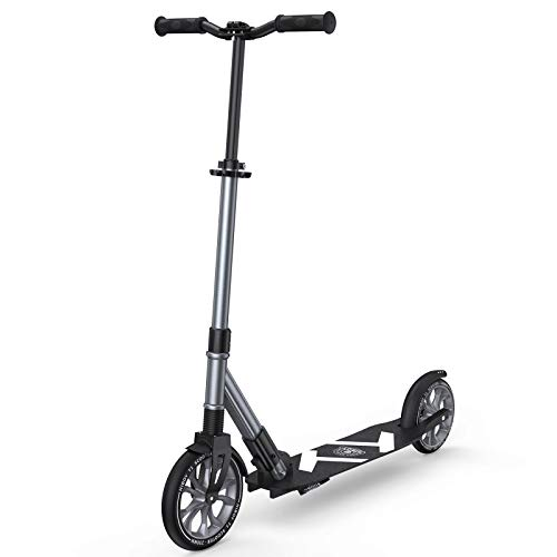 Hiboy T1 Scooter for Adults, Kids, Teens, 230mm Large Front Wheel, Front Shock Suspension, and Premium ABEC 9 Bearings, Scooters for Kids 8 Years and up (Gray)